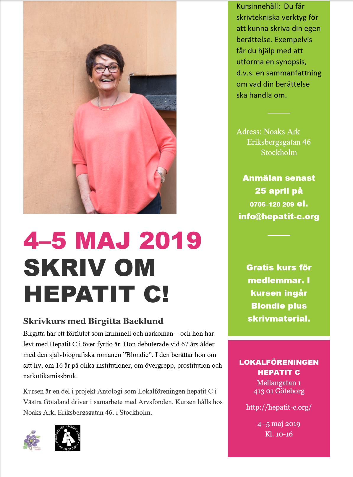 Skrivkurs med Birgitta Backlund 4-5 maj 2019